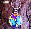 Round Butterfly Keyring